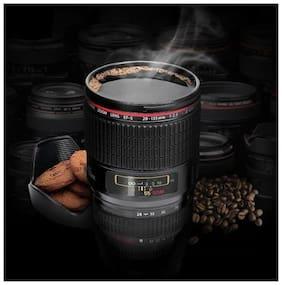 Camera Lens Coffee Mug Flask With Cookie Holder, Black