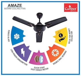 Candes Amaze 900mm /36 inch High Speed Anti-dust Decorative 5 Star Rated Ceiling Fan (100% Copper) 440 RPM Coffee Brown With 3 Years Warranty (Coffee Brown)
