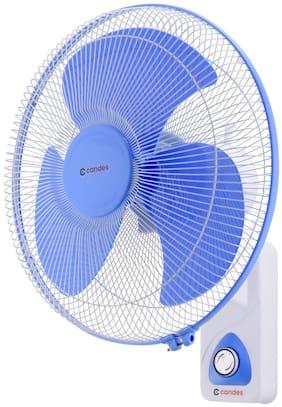 Candes Aura 400 mm 3 Blade Automatic Oscillation Wall Fan (White;Blue, 16WFWB02)