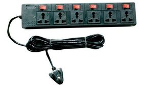 Candle 6 Socket Extension Board 1pc 1.5 mtr ( Black )