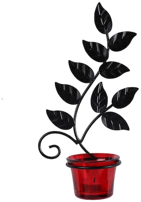 Candle stand leaf with 1 glass and free 1 t-light