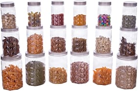 Canisters & Jars Set, Container Box Kitchen Container Combo Set Of 18 - 350 ml, 650 ml, 1200 ml, Plastic Grocery Container, Fridge Container, (Pack of 18, Grey)