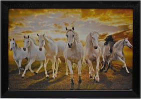 Capnicks Beautiful 7 luckey running horse Modern Art Framed Painting For Home & Office Decor (Synthetic, 19 x 13, Set of 1)
