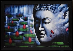 Capnicks Beautiful  Lord Buddha Religious  Modern Art Framed Painting For Home & Office Decor (Synthetic, 19 x 13, Set of 1)