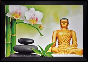 Capnicks Beautiful  Lord Buddha Religious  UV Textured Digital Print Modern Art Framed Painting For Home & Office Decor (Synthetic, 13 x 19, Set of 1)