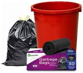 Capnicks Garbage Bags/Dustbin Bags/Trash Bags - Medium Size Pack of 30, Black