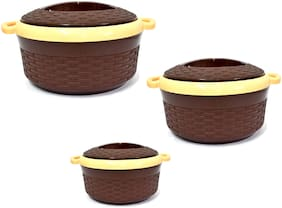 Capnicks Ruchi Set of 3 pcs (1200ML, 1800ML, 2400ML) Exotic Insulated BPA Free 18/8 Food Grade Stainless Steel Hot Pot Casserole for Roti/Chapati/Paratha/Idli/Dal/Curd (Brown Colour)