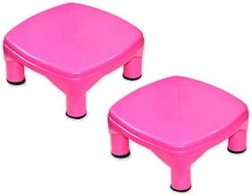Capnicks Unilite Plastic Strong Bathroom Patla Multipurpose Stool for Home (Set of 2 Pcs)