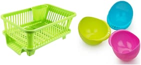 CAPTION 3 in 1 Kitchen Sink Dish Drainer Drying Rack Washing Holder Basket Organizer with Drain Tray and Cutlery Holder - Green