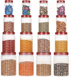 CAPTION 350;650;1200;2000 ml Maroon Plastic Container Set - Set of 16