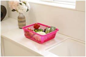 CAPTION Plastic Fruit Basket;Vegetable Basket;Multipurpose Basket (Pink)