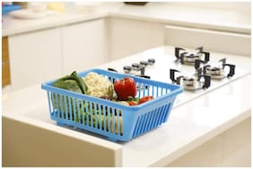 CAPTION Plastic Fruit Basket;Vegetable Basket;Multipurpose Basket (Blue)