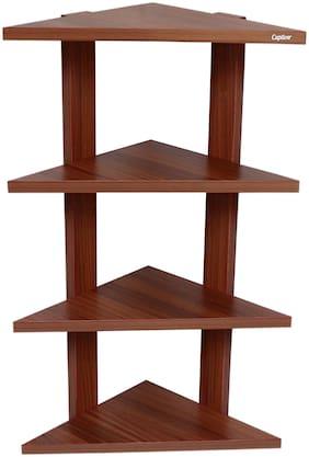 Captiver Delta Corner Wall Shelf Unit Classic Walnut 29.5 X 29.5 X 68 cm/Wooden Shelves Rack Display D cor