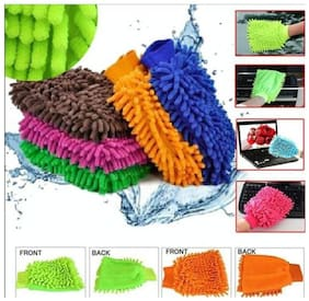 Car, Kitchen, Bike, cleaning GLOVE MITT Good Microfiber Cloth inside so smooth Wet and Dry Glove Set, your hand will be safe inside, (SET OF 02)