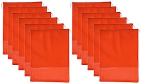 CARE N CARR Shoe Bags for Storage and travelling with transparent Window / Non-woven / Orange Color / Size-12x16 inch (Pack Of 12)
