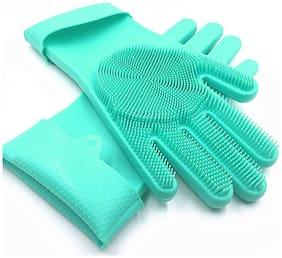 Carecroft Rubber Cleaning Gloves Scrubber for Washing Kitchen And Car Wash Etc. 1 Pair (Assorted Color)