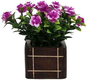 carmer artificial English rose bunch with purple color flower in wooden pot