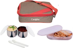 Carrolite 3 Containers Stainless steel Lunch Box - Red