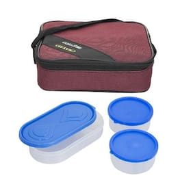 Carrolite 3 Containers Plastic Lunch Box - Maroon