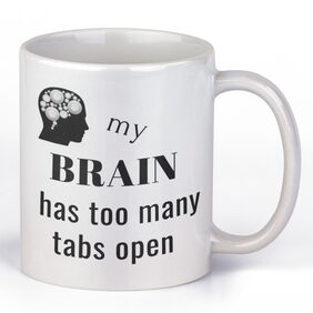 Casa Allegra My Brain White Ceramic Mug (350 ml)