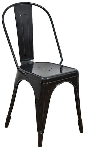 Casa Decor Black Tempest Metal Chair Dining Chairs with Backrest Industrial Cafe Bar Side Chairs