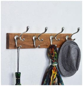 Casa Decor Elegent Acacia Wood Rail/Rack 24-inch 4 Decorative Wall Hooks Triple Layer Metal Pegs for Clothes, Hats and Towels - Mounted to a Wall Or a Door