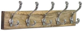 Casa Decor Premium Mango Wood Rail/Rack 24-inch 4 Decorative Wall Hooks Nickel Ancient Metal Pegs for Clothes, Hats and Towels - Mounted to a Wall or a Door