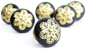 Casa Decor Pack of 6 Ornate Classic Black Ceramic Golden Filigree Knobs For Cabinets & Cupboards Drawer Pulls