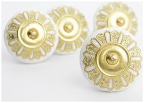 Casa Decor Pack of 6 Ornate White Ceramic Golden Filigree Knobs For Cabinets & Cupboards Drawer Pulls