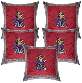 CASA-NEST Printed Cotton Square Shape Red Cushion Cover ( Regular , Pack of 5 )