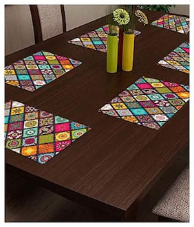 CASA-NEST PVC Printed Placemats for Dining Table and Kitchen (45 x 30 cm) Set of 6 Pieces ||Hot Vessels Transparent Dining Mat