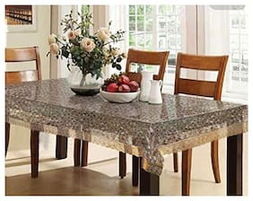 CASA-NEST PVC 3D Bubble Transparent Rectangle 4 to 6 Seater Dining Table Cover with Gold Border (54x78)