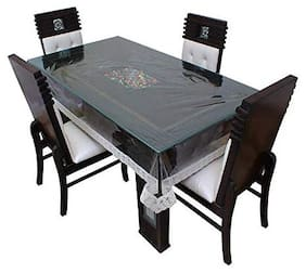 CASA-NEST Transparent Rectangular Table Cover with White Border Laces 6 Seater (54X78) inches (WxL) 6 Seater Table Cover