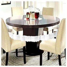 CASA-NEST Waterproof Transparent Round Table Cover with White Lace White Square Pattern(Suitable for 6 Seater, 72 inch Diameter)