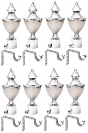 CasaGold Silver Finish Stainless Steel Curtain Finials with Single Rail Rod Support - Curtain Brackets Set/Holders for Window/Door (KSSPB32)