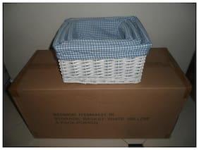 Case 12 Pcs White Wicker Nesting Decor Baskets Storage Gift Baby Christmas