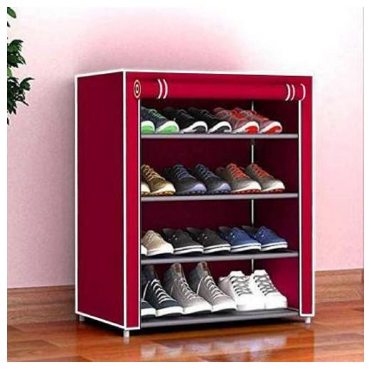 Caxon Non Woven Multipurpose and classic Storage Metal Collapsible Shoe Stand  Maroon,4 Shelves