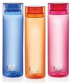 Cello H2O Bottle1000 ml Set Of 3Pcs Assorted