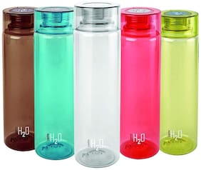 Cello Plastic Water Bottle Set of 5 ( Assorted , 750 ml )