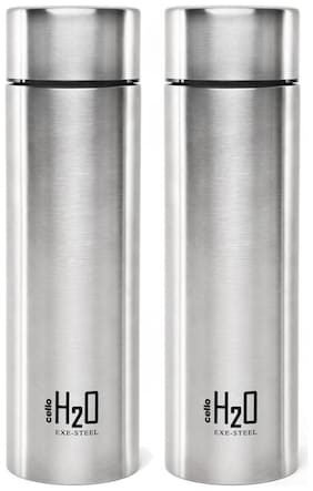 Cello H2O STEEL SET OF 2 SILVER 1000 ml Bottle (Pack of 2;Silver)