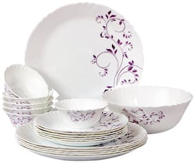 Cello Imperial Purple Hues Opalware Dinner Set;19 Pieces;White