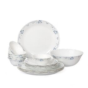 Cello Imperial Dainty Blue Opalware Dinner Set;19 Pieces;White