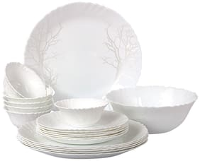 Cello Imperial Winter Frost Opalware Dinner Set;19 Pieces;White