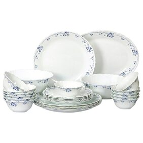 Cello Imperial Dainty Blue Opalware Dinner Set;27 Pieces;White