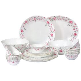 Cello Imperial Rose Fantasy Opalware Dinner Set;27 Pieces;White