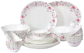 Cello Imperial Rose Fantasy Opalware Dinner Set;27 pcs;White
