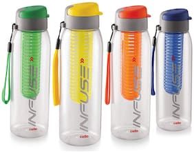 Cello Plastic Water Bottle Set of 4 ( Assorted , 800 ml )