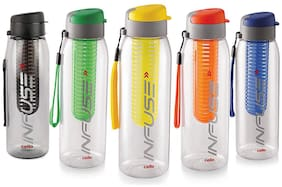 Cello Plastic Water Bottle Set of 5 ( Assorted , 800 ml )