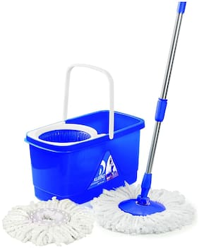 Cello Kleeno Easy Clean 360 Degree Plastic Bucket Spin Mop with 2 refill (Blue)