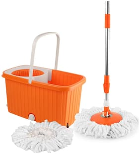 Cello Kleeno Hi Clean Spin Mop with WHEELS with 2 refill and 1 liquid dispenser (Orange)